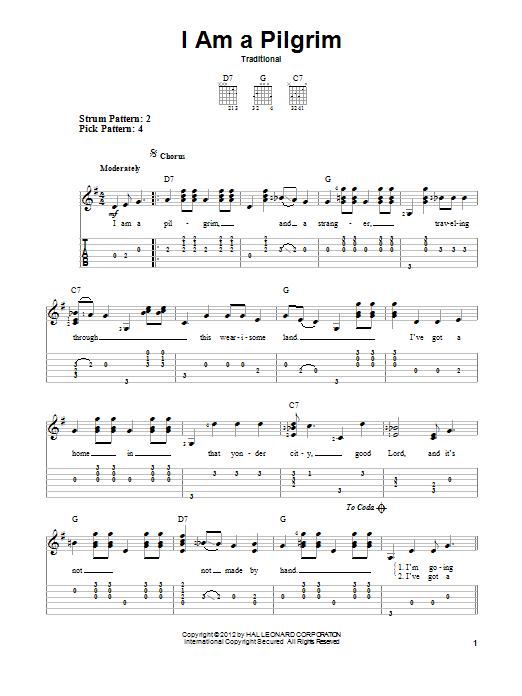 I Am A Pilgrim (Easy Guitar Tab)