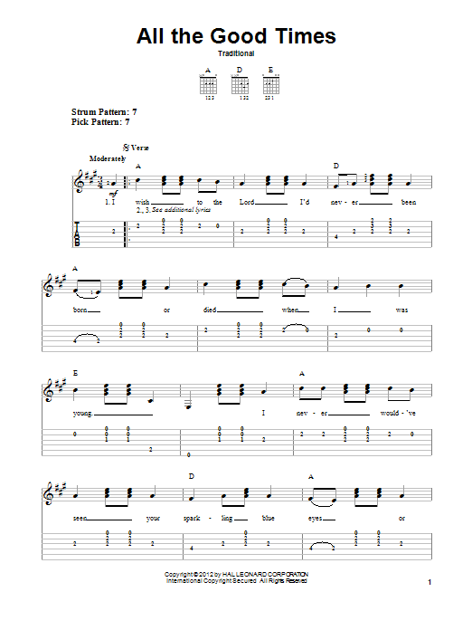 All The Good Times (Easy Guitar Tab)