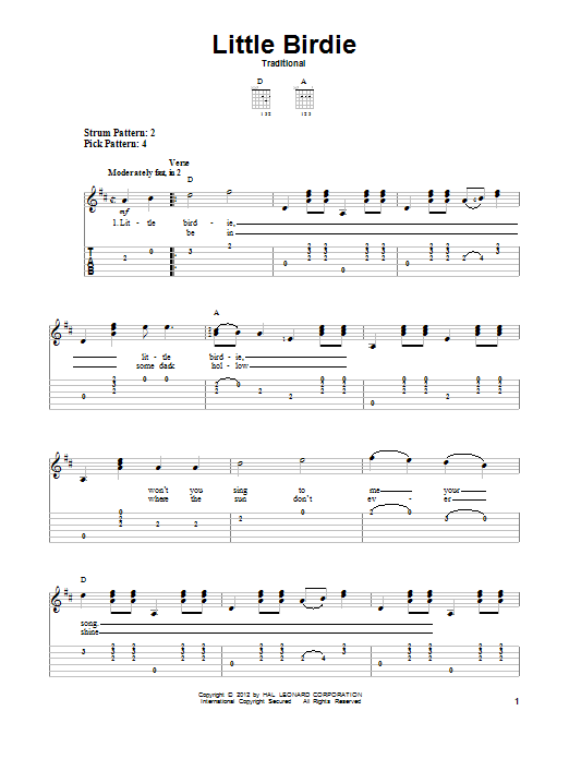 Tablature guitare Little Birdie de Traditional - Tablature guitare facile