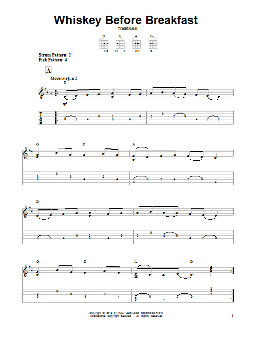 Tablature guitare Whiskey Before Breakfast de Traditional - Tablature guitare facile