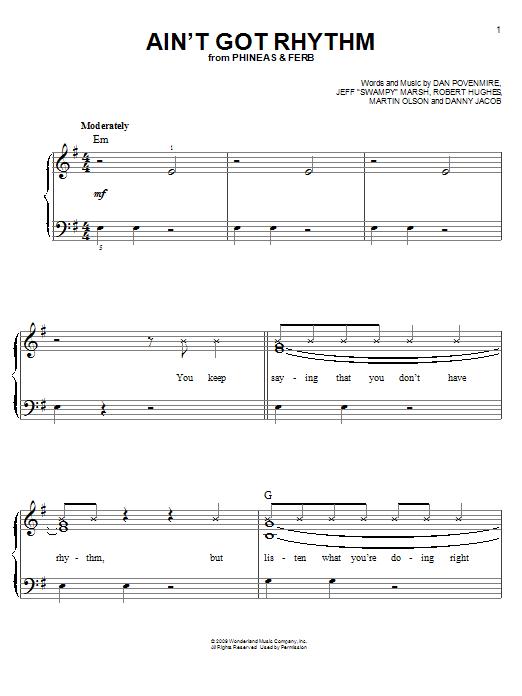 Ain't Got Rhythm (Easy Piano)