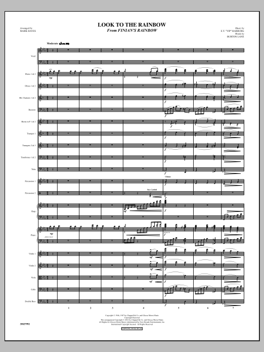 Look To The Rainbow (complete set of parts) sheet music for orchestra/band (Orchestra) by Mark Hayes, Burton Lane and E.Y. Harburg. Score Image Preview.
