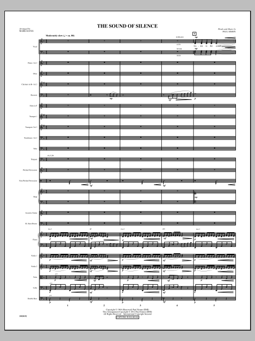 The Sound Of Silence (complete set of parts) sheet music for orchestra/band (Orchestra) by Mark Hayes, Paul Simon and Simon & Garfunkel. Score Image Preview.