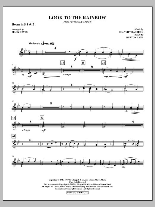 Look To The Rainbow - F Horn 1,2 (Choir Instrumental Pak)