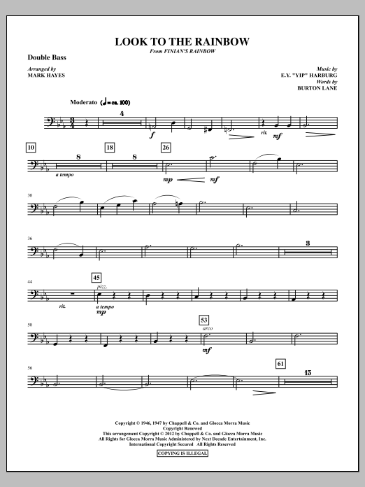 Look To The Rainbow - Double Bass (Choir Instrumental Pak)