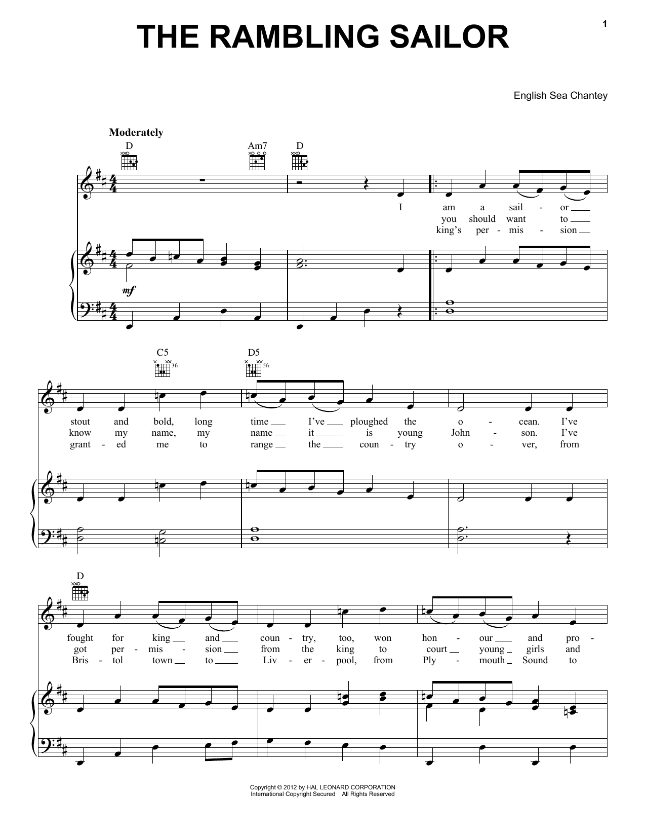 The Rambling Sailor Sheet Music