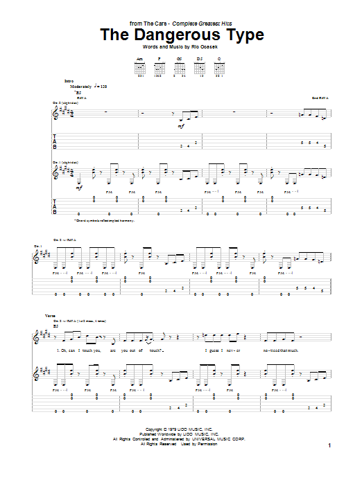 Tablature guitare The Dangerous Type de The Cars - Tablature Guitare