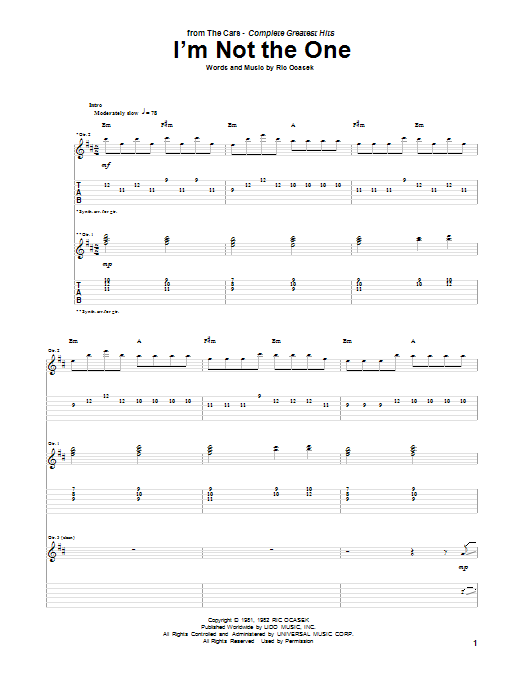 Tablature guitare I'm Not The One de The Cars - Tablature Guitare
