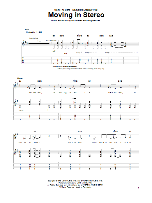Tablature guitare Moving In Stereo de The Cars - Tablature Guitare