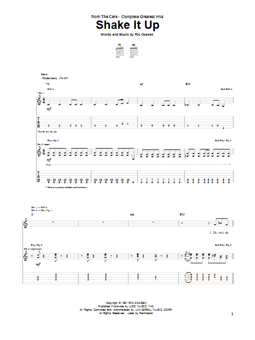Shake It Up (Guitar Tab)