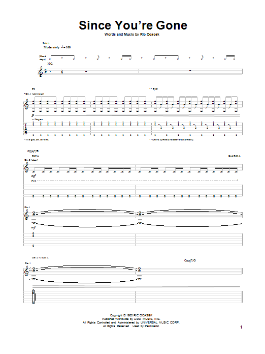 Tablature guitare Since You're Gone de The Cars - Tablature Guitare