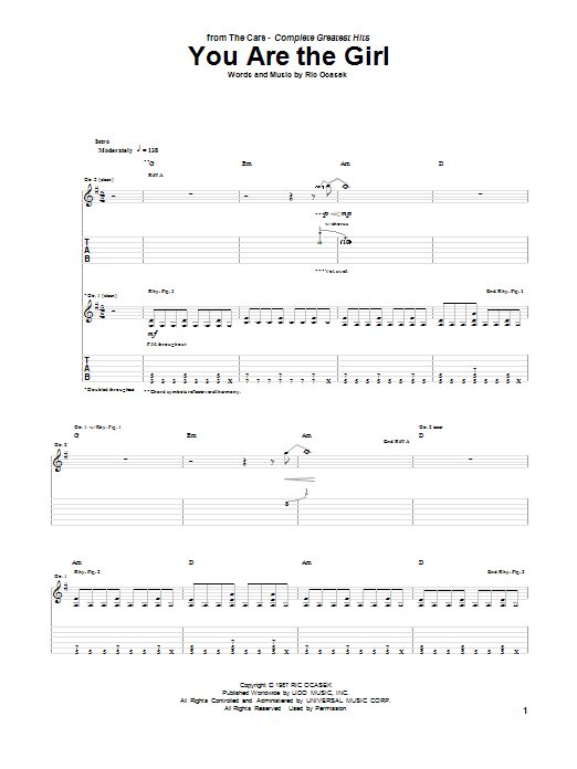 Tablature guitare You Are The Girl de The Cars - Tablature Guitare