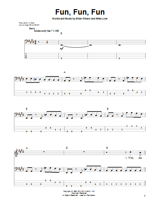 Fun, Fun, Fun Sheet Music | The Beach Boys | Bass Guitar Tab - photo#22