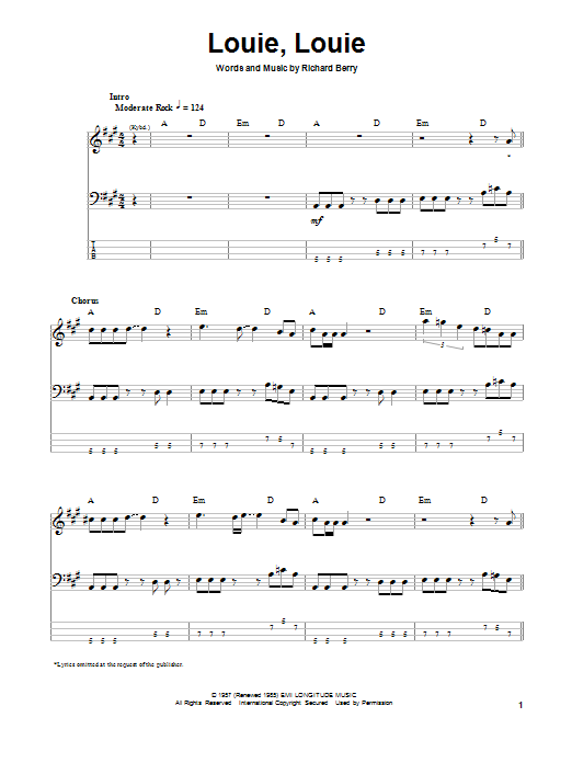 Louie, Louie (Bass Guitar Tab)