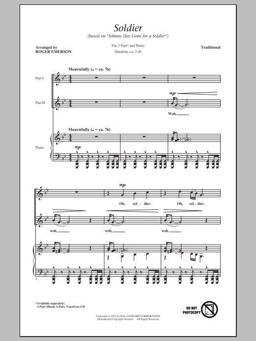 "Soldier (Based on ""Johnny Has Gone For A Soldier"") (arr. Roger Emerson) Sheet Music"