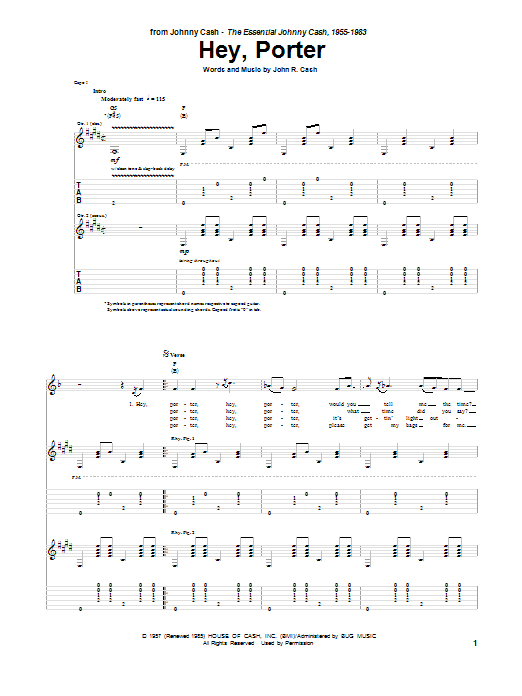 Tablature guitare Hey, Porter de Johnny Cash - Tablature Guitare