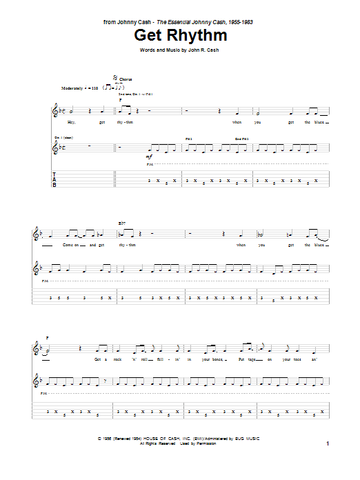 Tablature guitare Get Rhythm de Johnny Cash - Tablature Guitare