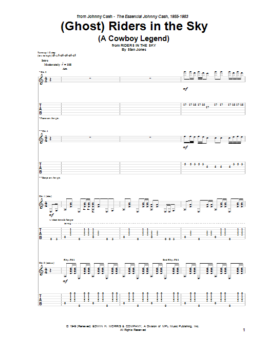 ghost riders in the sky a cowboy legend sheet music johnny cash guitar tab. Black Bedroom Furniture Sets. Home Design Ideas