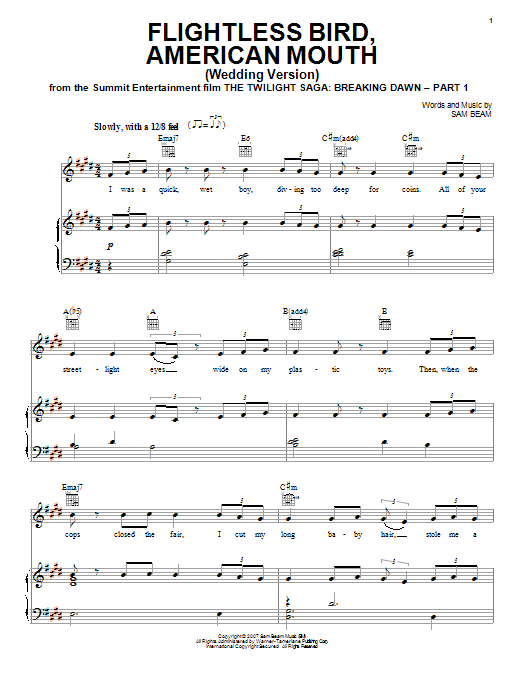 Partition piano Flightless Bird, American Mouth (Wedding Version) de Iron & Wine - Piano Voix Guitare (Mélodie Main Droite)