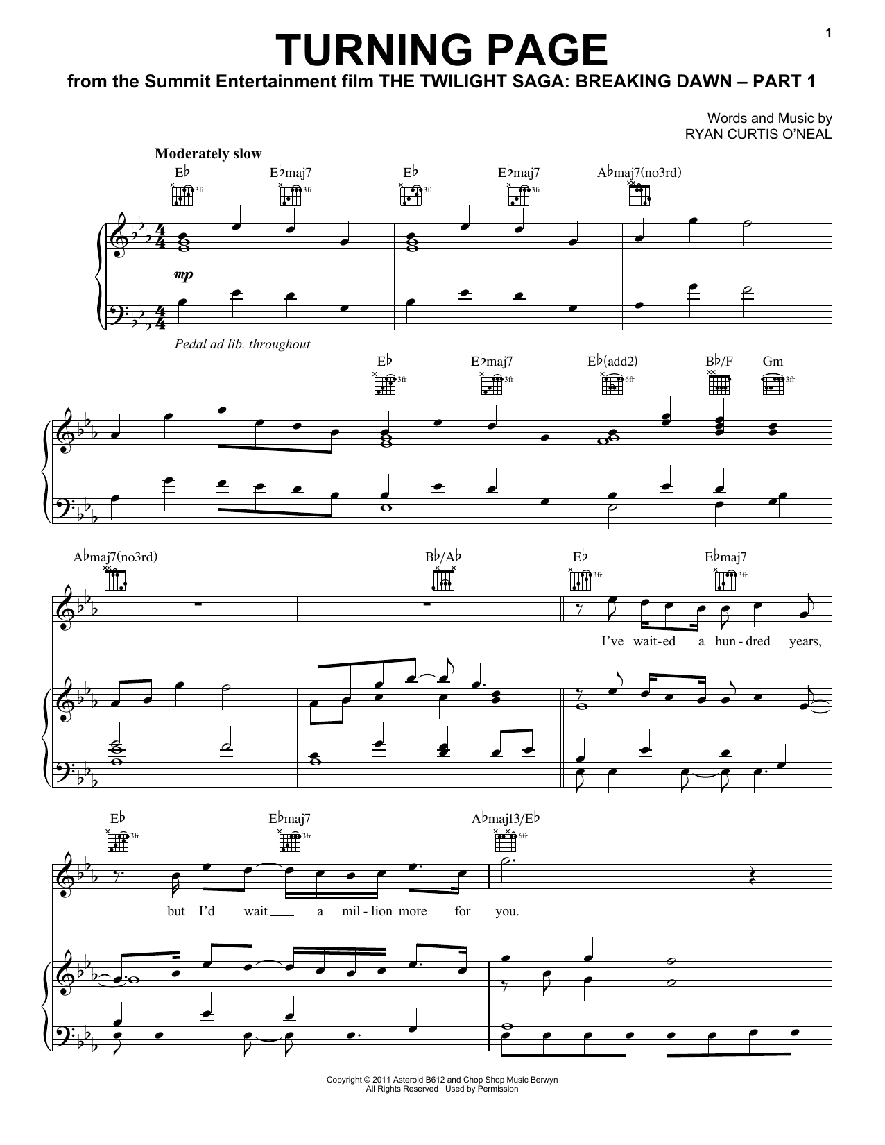 Turning Page (Piano, Vocal & Guitar (Right-Hand Melody))