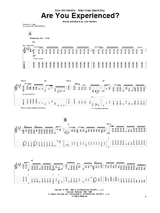 Tablature guitare Are You Experienced? de Jimi Hendrix - Tablature Guitare