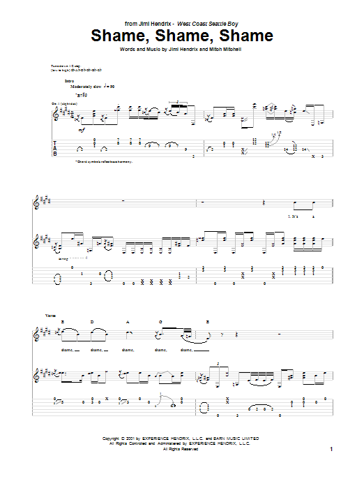 Tablature guitare Shame, Shame, Shame de Jimi Hendrix - Tablature Guitare