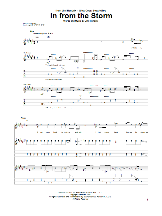 Tablature guitare In From The Storm de Jimi Hendrix - Tablature Guitare