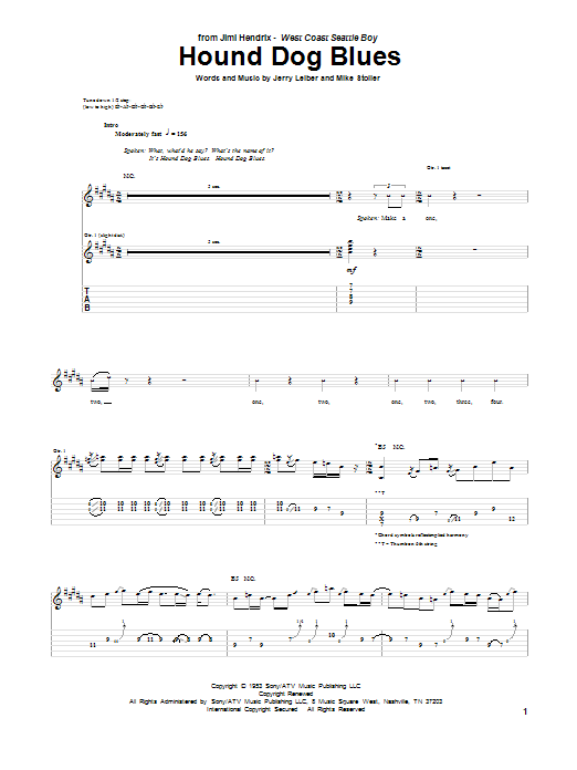 Hound Dog Blues By Jimi Hendrix Guitar Tab Guitar Instructor