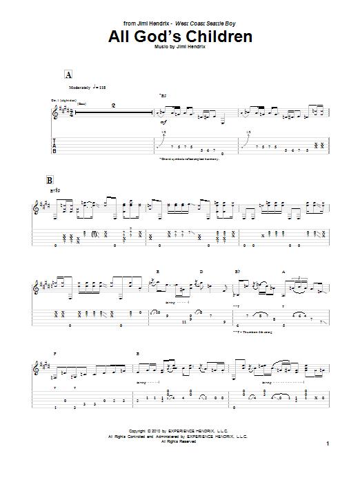 Tablature guitare All God's Children de Jimi Hendrix - Tablature Guitare