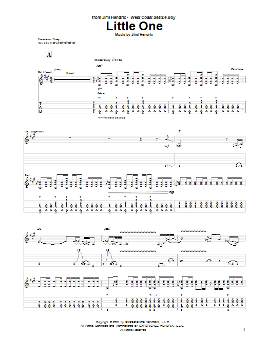 Tablature guitare Little One de Jimi Hendrix - Tablature Guitare