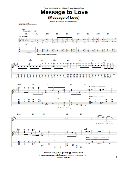 Message To Love (Message Of Love) (Guitar Tab)