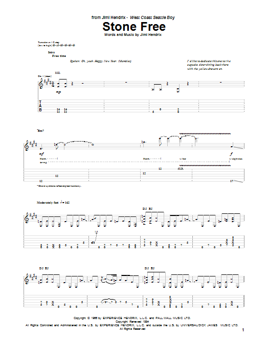 Tablature guitare Stone Free de Jimi Hendrix - Tablature Guitare