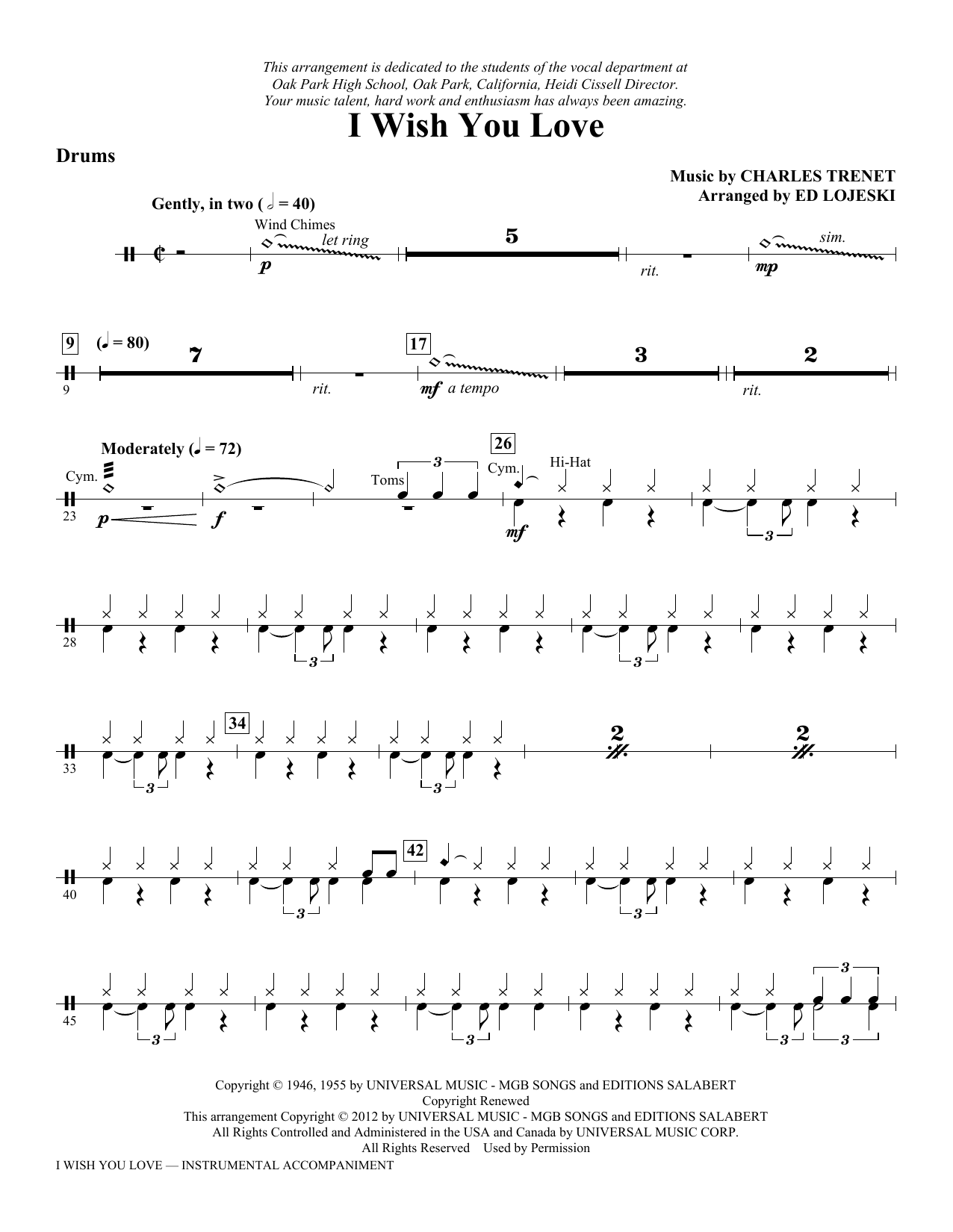 I Wish You Love - Drums Sheet Music