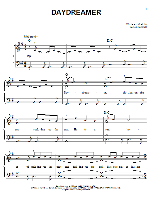 Daydreamer Sheet Music