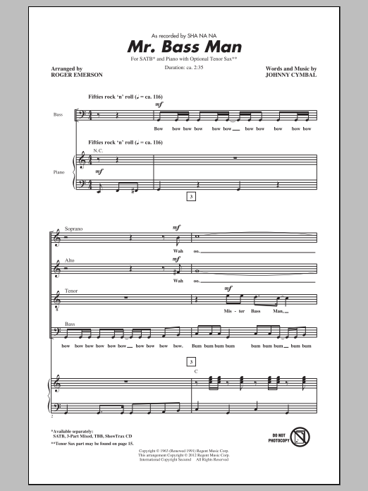 Mr. Bass Man Sheet Music