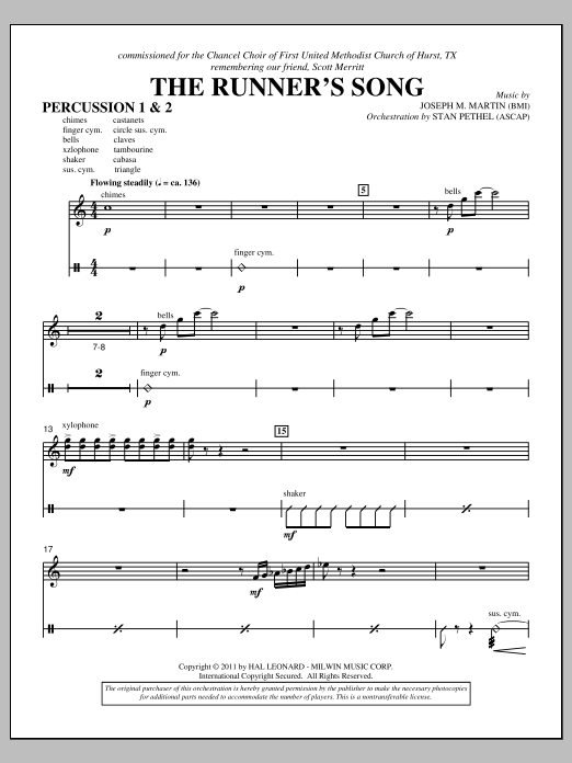 The Runner's Song - Percussion 1 & 2 (Choir Instrumental Pak)