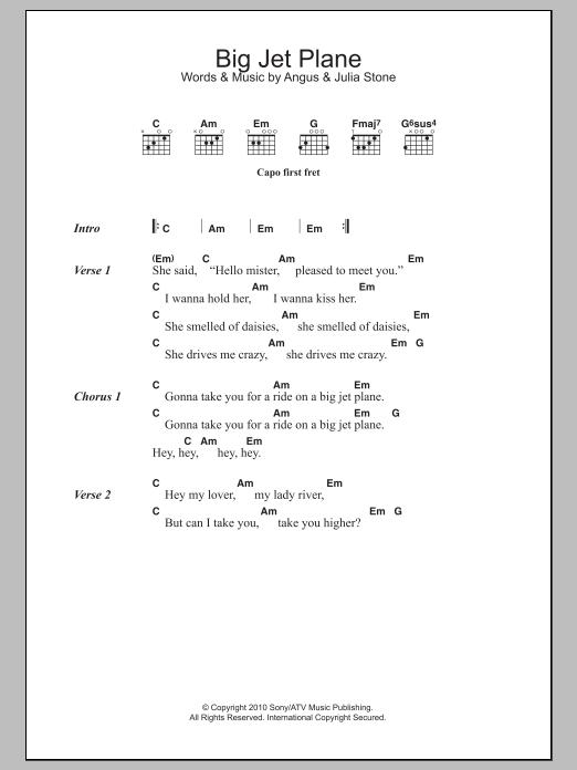 Big Jet Plane by Angus & Julia Stone - Guitar Chords/Lyrics - Guitar ...