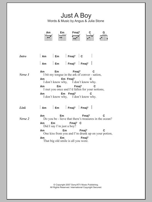 Just A Boy Sheet Music