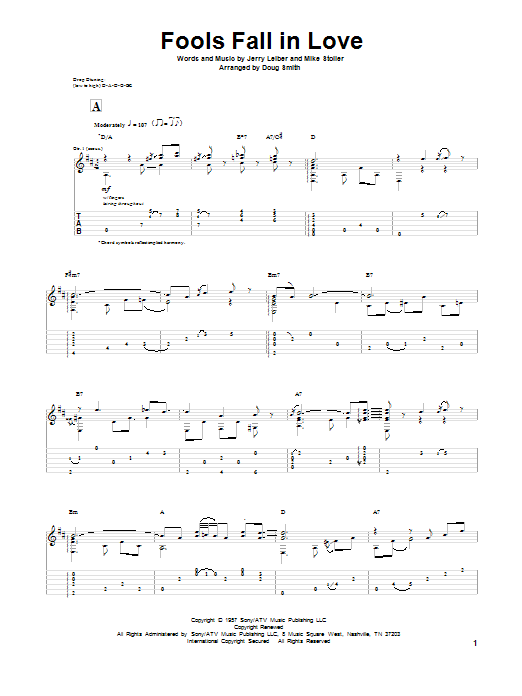 Tablature guitare Fools Fall In Love de Leiber & Stoller - Tablature Guitare