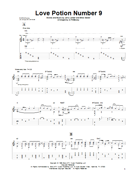 Tablature guitare Love Potion Number 9 de Leiber & Stoller - Tablature Guitare