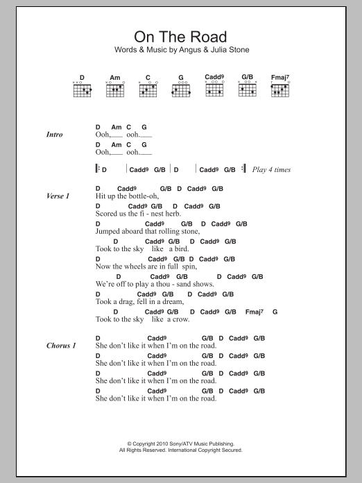 On The Road by Angus & Julia Stone - Guitar Chords/Lyrics - Guitar ...
