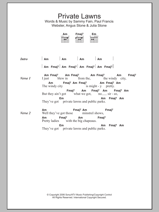 Private Lawns Sheet Music