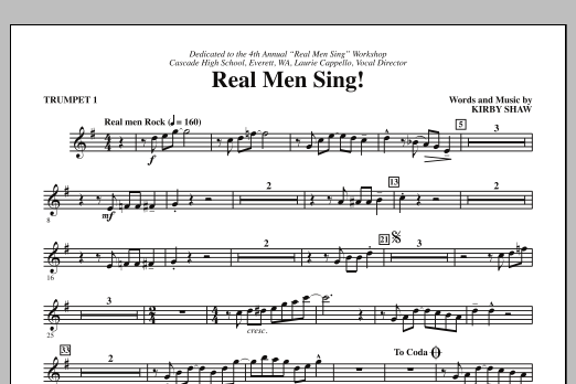 Real Men Sing! (complete set of parts) sheet music for orchestra/band (chamber ensemble) by Kirby Shaw. Score Image Preview.