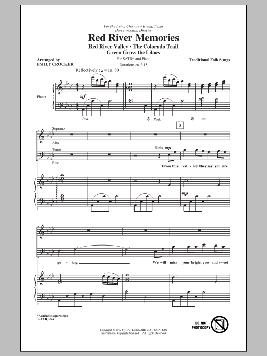 Red River Memories (Medley) (SATB Choir)