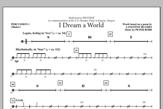 I Dream A World (complete set of parts) sheet music for orchestra/band (Percussion) by Peter Robb and Langston Hughes. Score Image Preview.