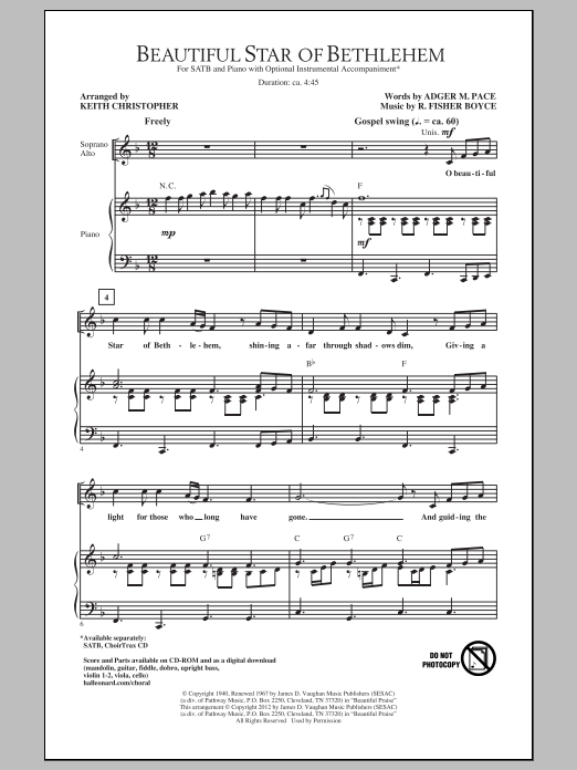 Partition chorale Beautiful Star Of Bethlehem de Keith Christopher - SATB