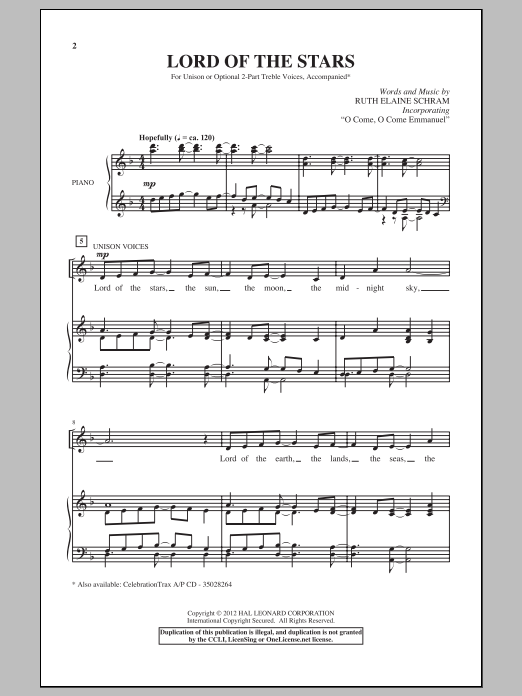 Lord Of The Stars Sheet Music