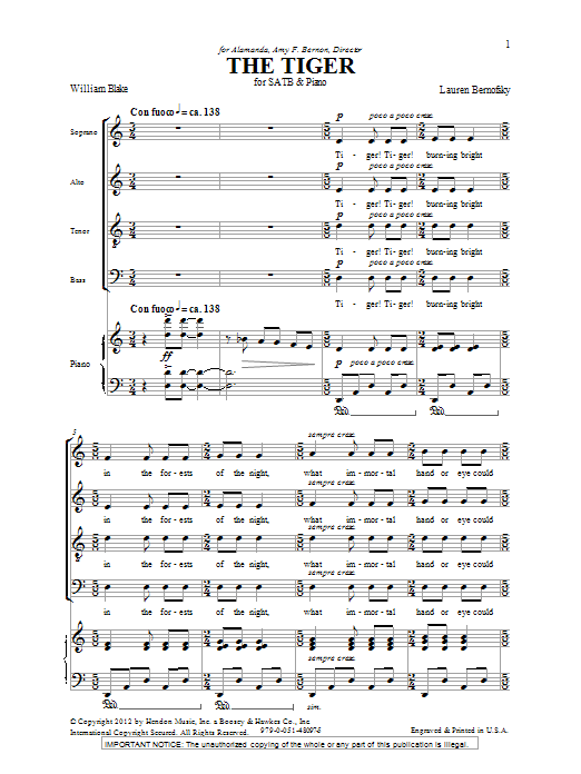 The Tiger (SATB Choir)