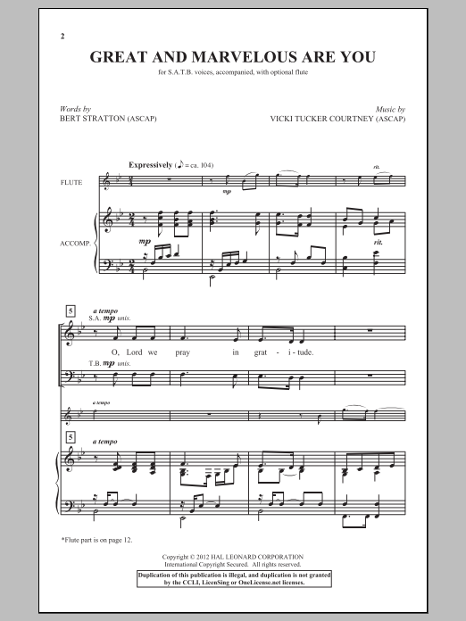 Partition chorale Great And Marvelous Are You de Vicki Tucker Courtney - SATB