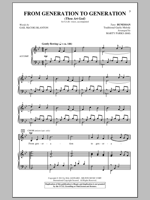From Generation To Generation (Thou Art God) Sheet Music
